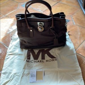 Michael Kors large N/S Hamilton leather tote.